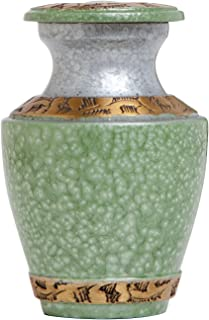 Funeral Urn by Liliane - Keepsake Cremation Urn for Human Ashes - Hand Made in Brass, Hand Enamelled and Hand Engraved - Fits a Small Amount of Cremated Remains of Adults as Well as the ashes of dogs, cats or other pets - Display Keepsake Burial Urn at ..