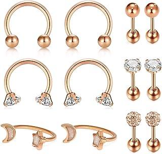 JFORYOU 16G(1.2mm) Tragus Cartilage Rook Earrings-Septum Rings Hoop Piercing Snug Helix Daith Earrings Surgical Steel Body...