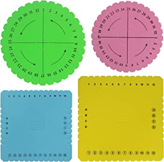 Multi-Colored Kumihimo Disk Kit Set of 4 Different Looms (Large, Small, Round, Square Plate)