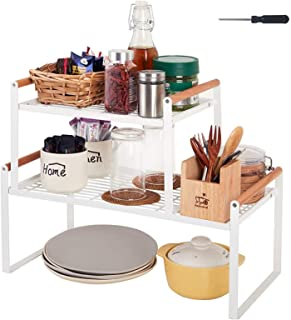 "U-HOOME 2 Pack Stackable Countertop Organizer 18""(L)+12.2""(L), kitchen cabinet Shelves, Cupboard, Cabinet, Pantry, Shelf, ..."
