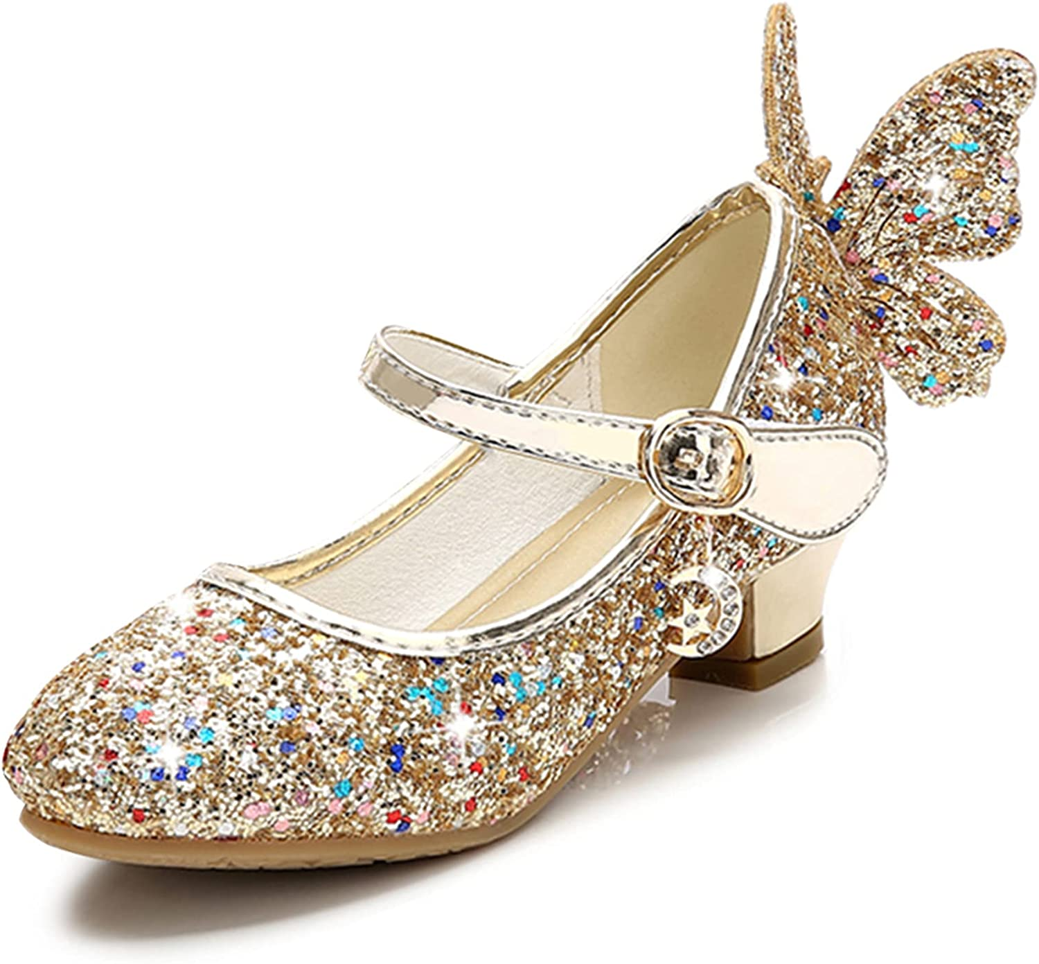 Stunner Girls Wedding Party Heels Dress Shoes Sparkly Mary Jane Princess Shoes(Toddler/Little Kid/Big Kid)
