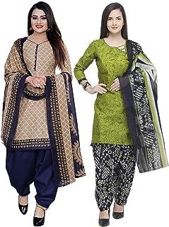 Rajnandini Women's Cotton Unstitched Salwar Suit (Pack of 2) (JOPL1006-3851_Beige & Light Green_Free Size)