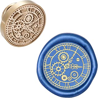 craspire Cire Sceau Timbre Tête Horloge Amovible Cachetage Laiton Timbre Tête pour Créatifs Cadeaux Enveloppes Invitations...