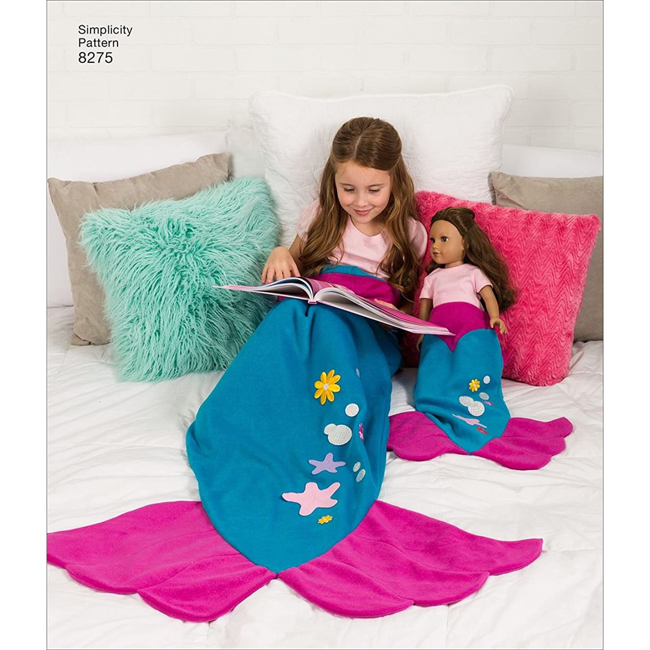 Simplicity 8275 Adult's, Girl's and 18'' Doll's Mermaid Tail Blanket Sewing Pattern, Size A