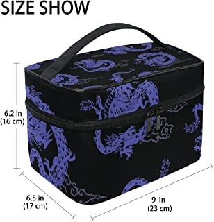 MASSIKOA Purple Japanese Dragon Large Cosmetic Bag Travel Makeup Organizer Case Holder for Women Girls