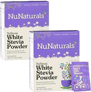 NuNaturals Nustevia White Stevia Powder, 100 Count (2-Pack)
