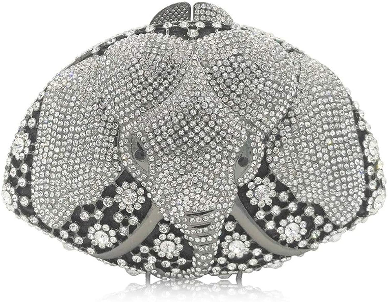 Sturdy New HandStudded Rhinestone Elephant Dinner Animal Model Women's Luxury Full Rhinestone Hand Handbag Large Capacity (color   Silver)