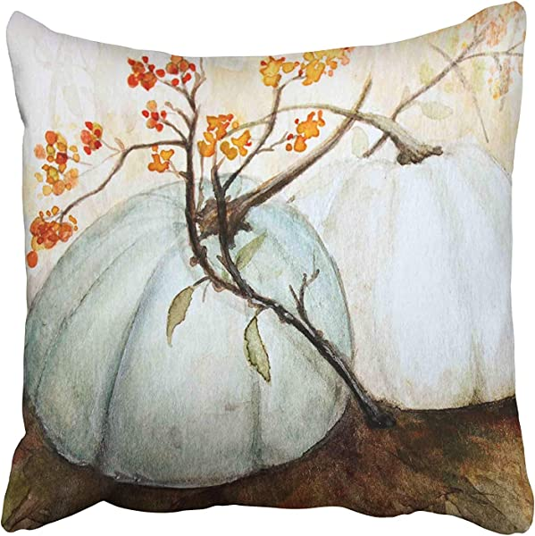 Accrocn White Autumn Pumpkins Fall Watercolor Blue Gray Cinderella Pumpkin Decorative Throw Pillow Case Cases Cover Cushion Covers Square Pillowcases Sofa Size 16x16 Inches Two Side