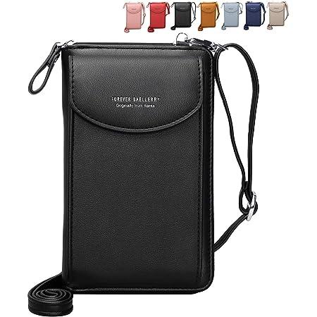 Crossbody Tasche Handytasche Brieftasche Damen Umhängetasche Geldbörse mit Credit Card Slots für Frauen (Schwarz)