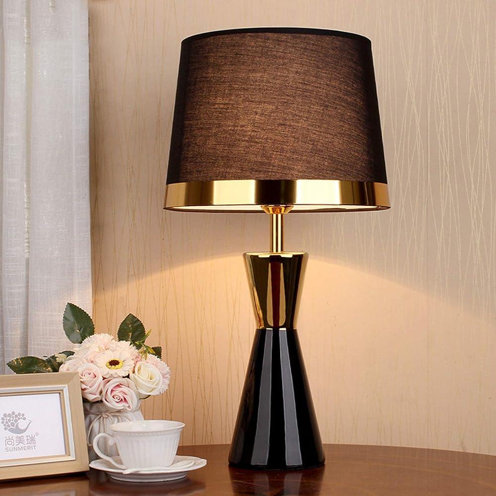 Hkly, moderna lampada da tavolo, in ceramica, con paralume in tessuto, black 332-621-047A