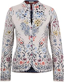 IVKO Impression Floral Pattern Jacket in Off White and Blue Extra Fine Merino Wool Button Up Cardigan Sweater