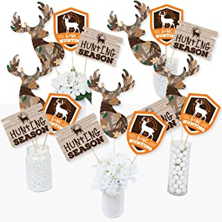 Gone Hunting - Deer Hunting Camo Baby Shower or Birthday Party Centerpiece Sticks - Table Toppers - Set of 15