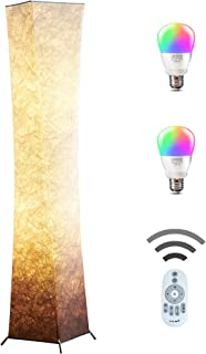 Floor Lamp, CHIPHY Modern Lamp, Color Changing and Dimmable Smart RGB LED Bulbs with Brown White Fabric and Remote Control, Tall Light for Living Room and Bedroom(10