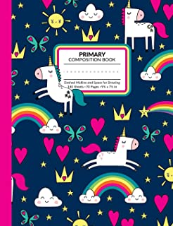 Primary Composition Book: Rainbow Unicorn Write and Draw Story Paper Journal With Dashed Midline and Space for Illustrations | Half Lined Half Blank ... Writing Practice and Storytelling Assignments