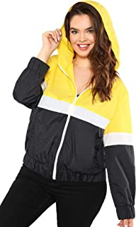 f1e0920e49c Milumia Women s Color Block Drawstring Hooded Zip up Sports Plus Size Jacket  Windproof Windbreaker