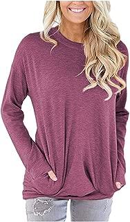 Womens Crewneck Sweatshirt Casual Loose Fitting Tops Long Sleeve T Shirt