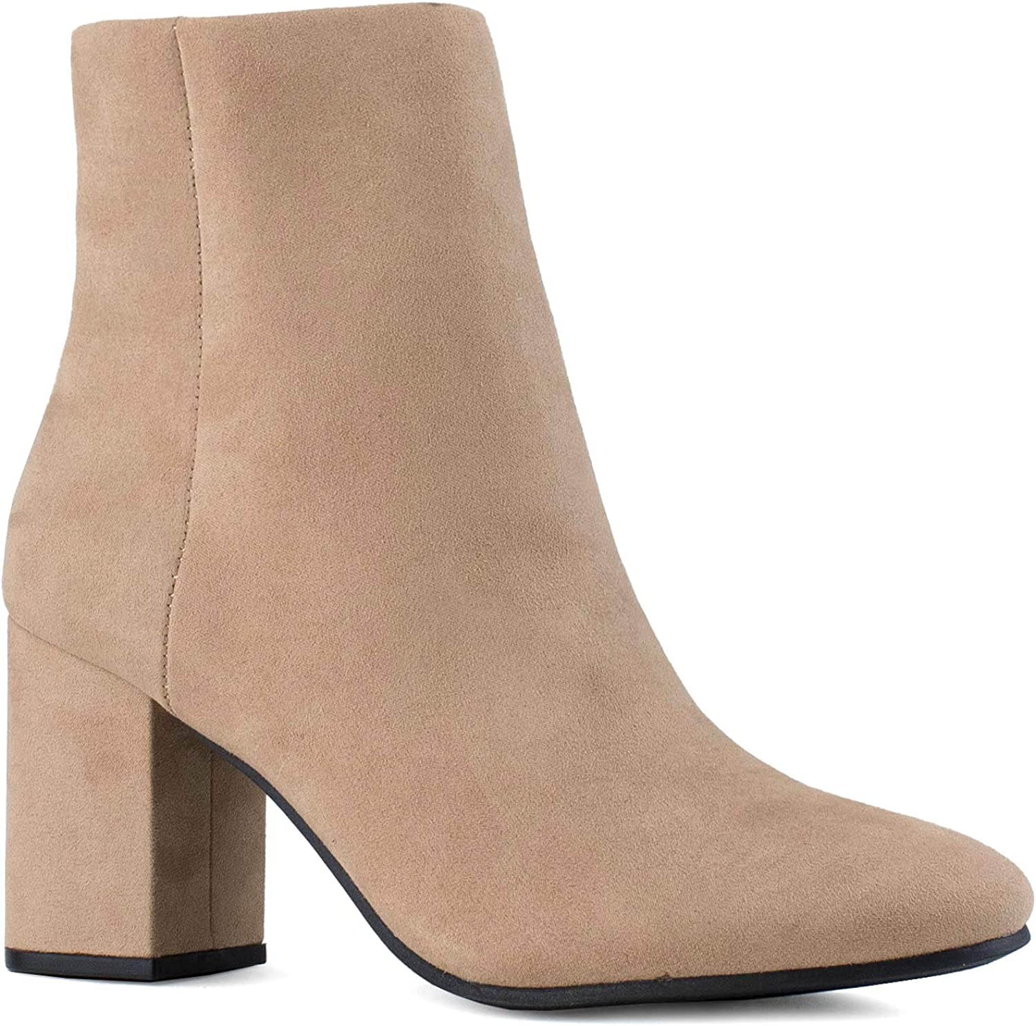 Women's Round Toe Chunky Heeled Side Zip Slim Fit Ankle Booties