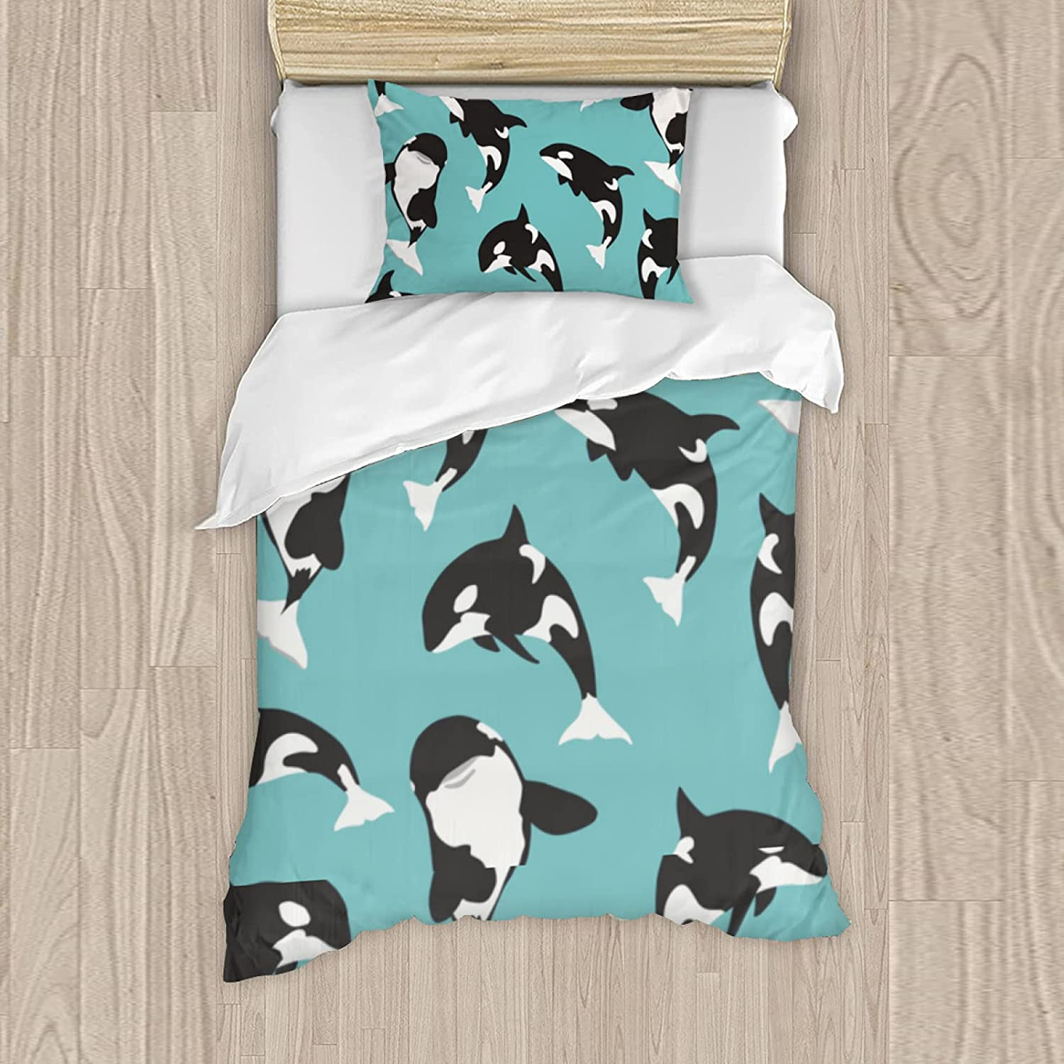 Orca Whale Pattern Bedding Set Kids Boy Max 89% OFF B Cover Decor Duvet Quantity limited Teen