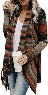 LOSRLY Sudadera de manga larga informal con flecos y dobladillo irregular, para mujer, para otoño e invierno