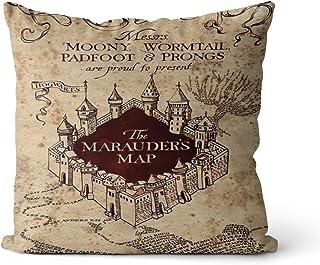 Harry Potter Murder Map Light Funda de Almohada 50x50cm La Tela de Lino Tiene una Alta absorción de Humedad, sin Relleno