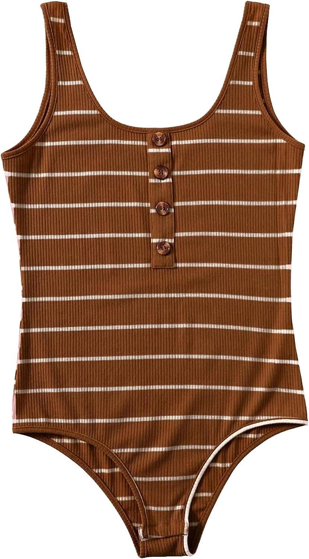 Stripy Button Battlefront Tank Bodysuit, Women's Bodysuits