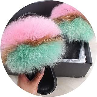 Plush Fox Fur Slippers Slides Lady Summer Flip Flops Cute Fluffy Raccoon Fur Sandals Shoes