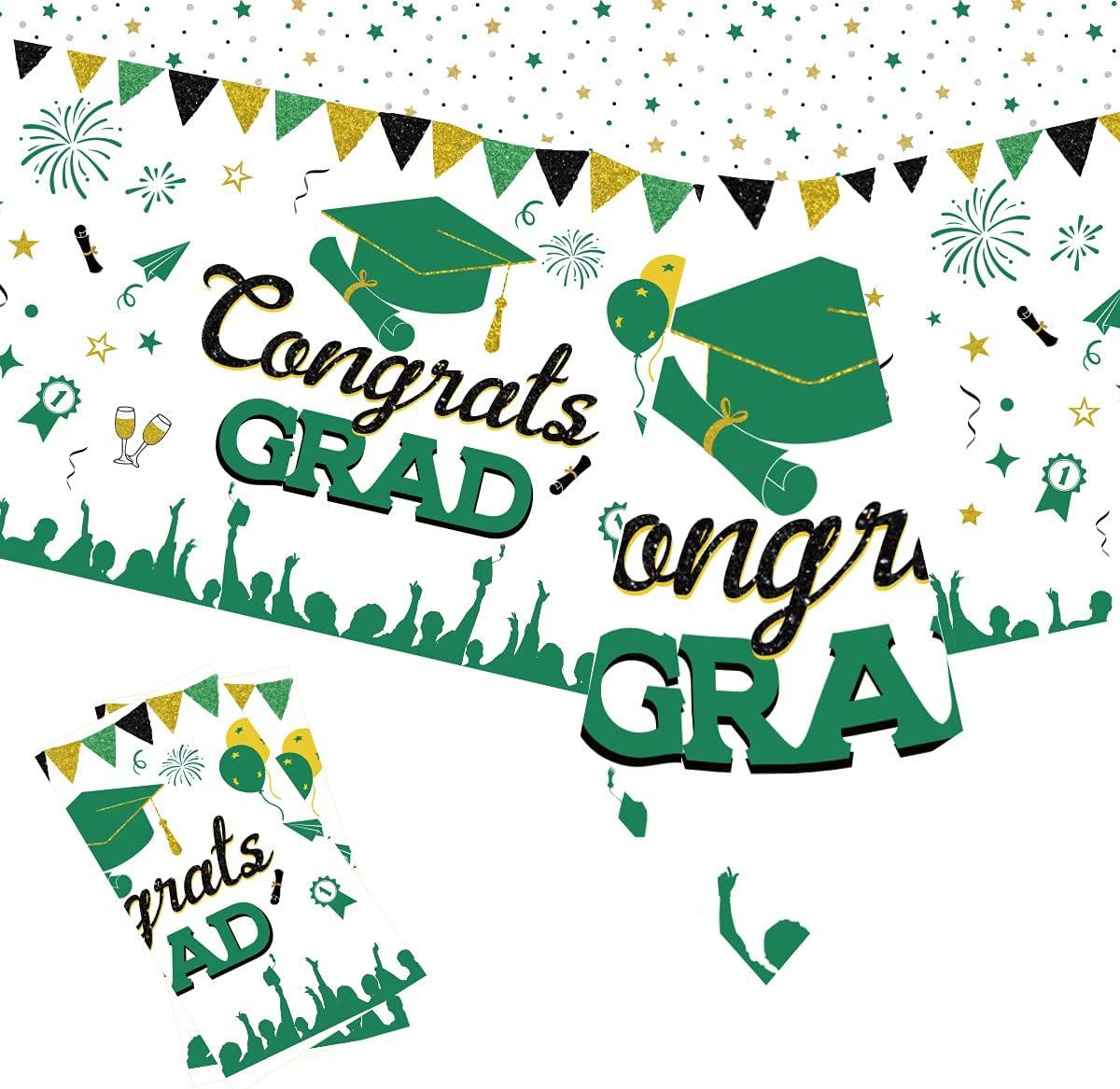 Mantel de graduación para mesas rectangulares Verde y Negro, Paquete de 2 Fundas de plástico para mesas de graduación de 54