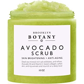 Brooklyn Botany Avocado Body Scrub 10 oz - Exfoliating Body Scrub - Infused with Vitamin C and Avocado Oil to Exfoliate and Moisturize - Can Reduce Skin Inflammation - Great Gifts For Women