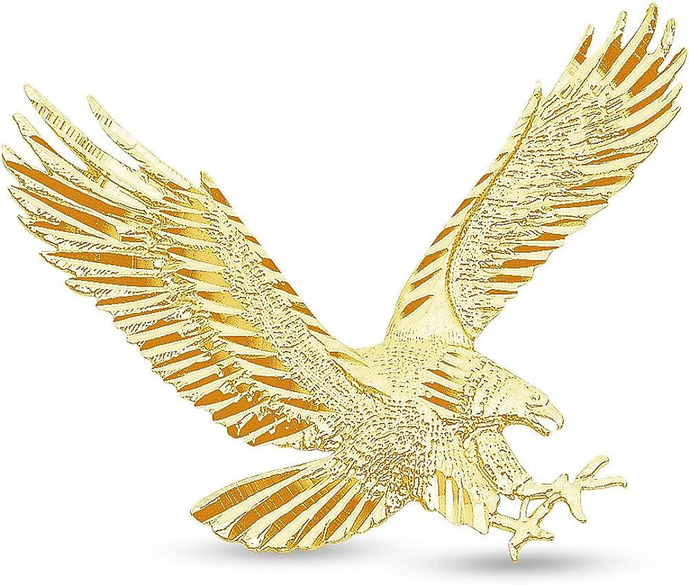 Sonia Jewels 14K Yellow Gold Diamond-Cut Ornate Eagle Pendant Charm (35x45 mm)