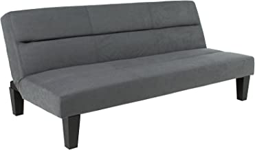 Best Choice Products Microfiber Futon Convertible Reclining Folding Lounge Couch Sofa Bed w/ 6in Thick Mattress Padding Comfort - Gray