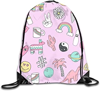 Patches 90s Nostalgia Pastel Print Fairy Kei Fabric Design Rainbows Dinosaurs Planets Space Cute Girls Design Unisex Home Travel Outdoor Sports Storage Rope Bag Drawstring Bag