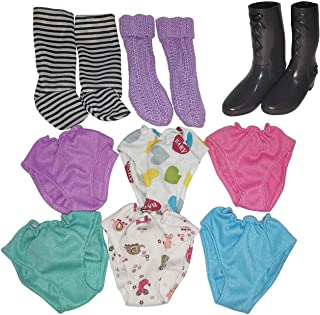 Huang Cheng Toys New Brand Doll Accessories Set of 12pcs Doll Socks Doll Long Boots Rainbow Colorful Underpants for American 14 16 18inch American Doll Alive Baby Doll