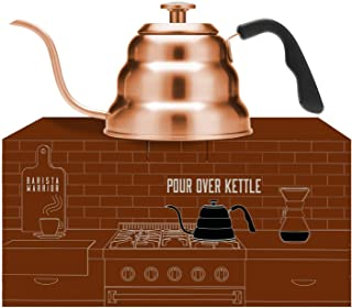 Copper Kettle with Thermometer for Exact Temperature - Copper Coated Gooseneck Pour Over Kettle for Coffee and Tea (1.0 Liter | 34 fl oz) (Copper Coated Stainless Steel)