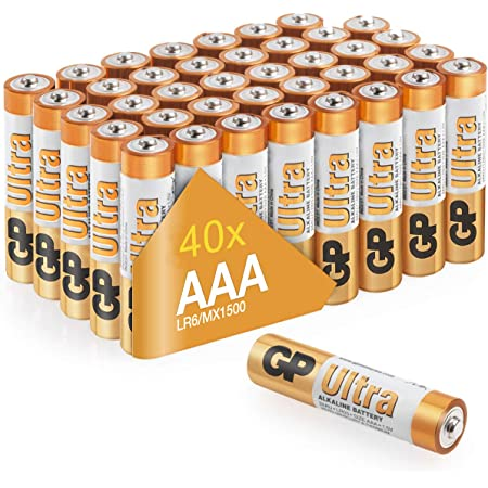 AAA Batteries pack of 40 by GP AA Batteries Ultra Alkaline - 10 year shelf life, ideal for everyday hungry devices, long lasting power, anti-leakage technology | also known as Micro, Mini, LR03, MN2400, 24A