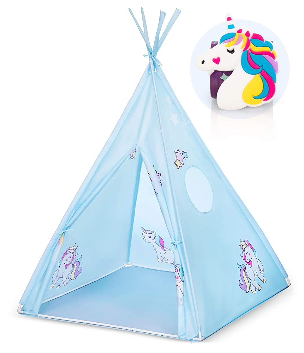 Unicorn Teepee Tent for Kids and Toddlers - Indoor & Outdoor Playhouse - A Princess's Imaginary Playroom - Portable, Folds Down w/ Unicorn Bracelet and Convenient Carry Case | New Hut for Girls & Boys suxzw5988