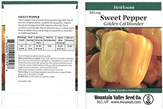 Golden Cal Wonder - Sweet Pepper Garden Seeds - 300 mg Packet - Non-GMO, Heirloom - California Wonder Bell Peppers - Golden Orange - Vegetable Gardening Seed