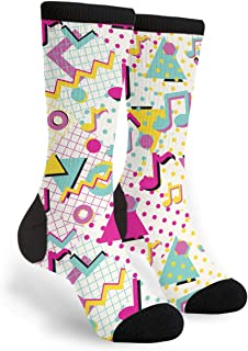 Colorful Abstract 80s Style Musical Notes Unisex Adult Fun Cool 3D Print Colorful Athletic Sport Novelty Crew Tube Socks