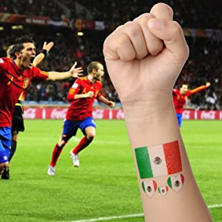 Moonvvin 2018 World Cup FIFA National Flags Tattoo, 10pcs Temporary Eco-Friendly Waterproof National Flags Tattoo Face Body Sticker [Contain 1 Clean Wipe]