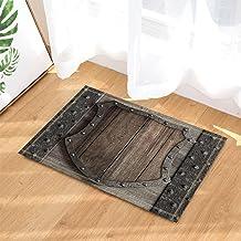 Vintage Wooden Decor, Wood Shield on Medieval Castle Gate Bath Rugs, Non-Slip Doormat Floor Entryways Indoor Front Door Ma...