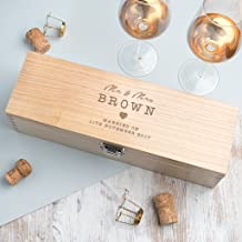 Personalized Wooden Wine Box - Valentine's Day Gift for Fiance Husband Wife Him Her - Wedding Engagement Anniversary Keepsake Gifts for the Couple