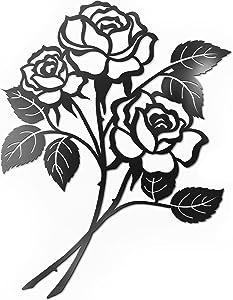 Vivegate Rose Wall Decor Black Metal Art - Rose Flower Wall Decor Black Metal Wall Decor for Living Room Giant Roses (Medium - 15