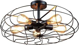 Vintage–Lámpara de techo, frideko de la Industria creativos jaula Fan Ventilador–Lámpara de techo con 5luces para Loft Bar cafeteria Salón, Deckenleuchte-54cm, E27 60.00 wattsW 220.00 voltsV