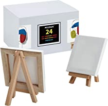 """MEEDEN Mini Stretched Canvas with Beech Wood Easel of 24Pack, 4"""" by 4"""" Primed Canvas with 3"""" by 5"""" Tiny Easel for Painting..."""