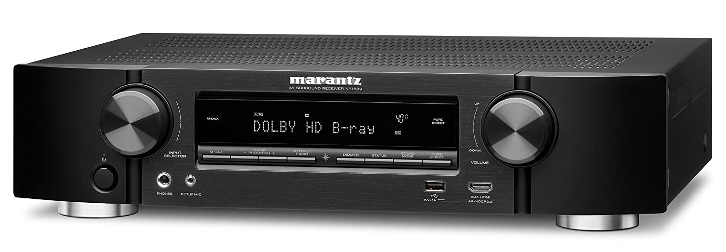 Marantz AV Receiver NR1509 – 50W Powerful Slim Profile 5.2 Channel Home Theater Amplifier, Dolby TrueHD and DTS-HD Master Audio | Alexa Compatible and Stream Music Through WiFi, Bluetooth and Airplay