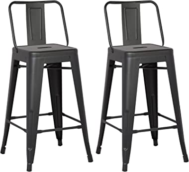 "AC Pacific Modern Light Weight Industrial Metal Bucket Back Barstool, 30"" Seat Height Counter Stool (Set of 2), Matte Bla"
