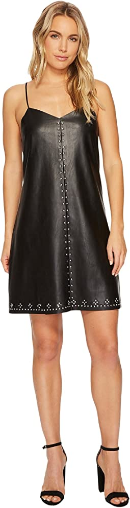 Studded Vegan Leather Slip Dress in Close The Deal