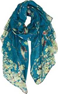 Scarfs for Women Lightweight Floral Birds Print Shawl Wraps Holiday Scarf Gift