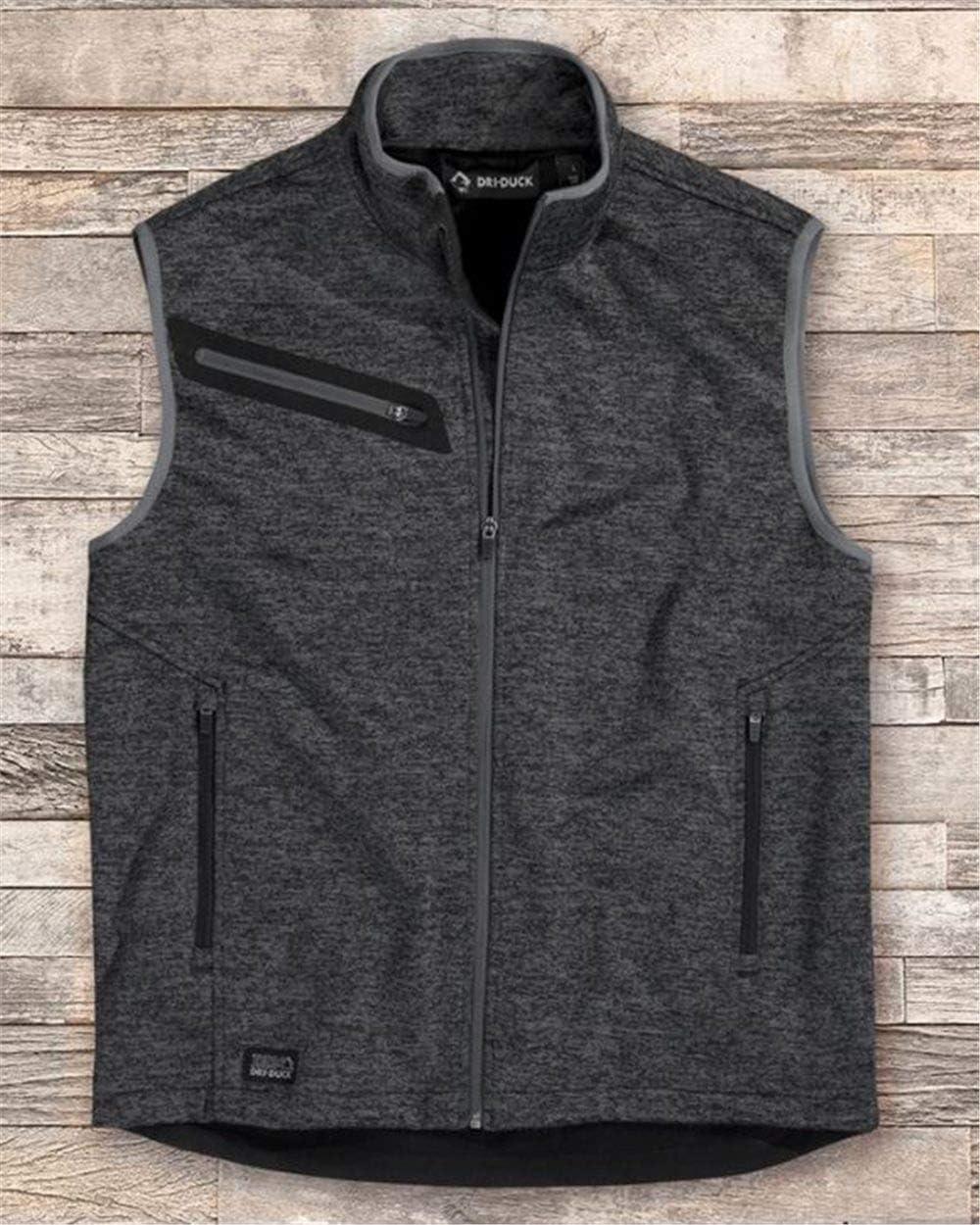 DRI Duck Compass Bonded Mélange Sweater Fleece Vest - Charcoal - M
