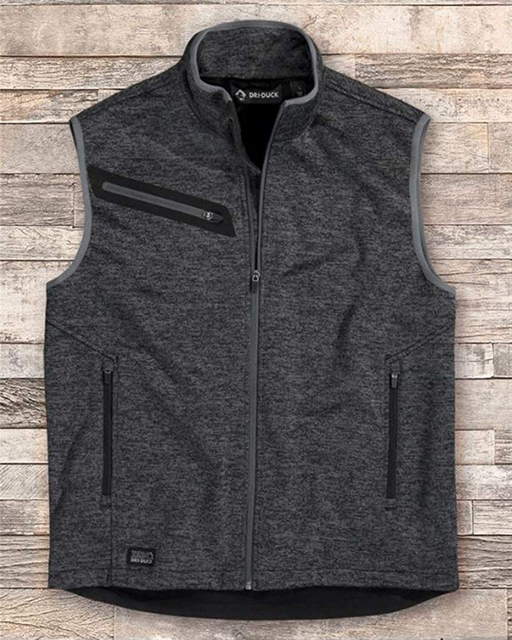 DRI Duck Compass Bonded Mélange Sweater Fleece Vest - Charcoal - S