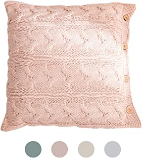 Decorative Knitted Throw Pillow Covers - Square Warm Cushion Cover with Buttons for Home Office Car Sofa, Modern Cable Knit Sweater Pillow Case, 18 x 18 Inches, Pink
